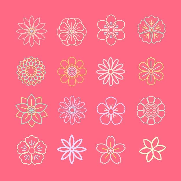 Motivo floreale e icone