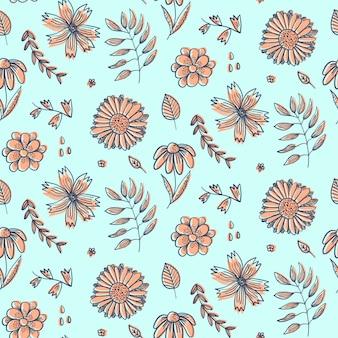 Motivo floreale estivo con fiori d'arancio doodle