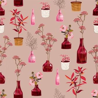 Motivo floreale fiori botanici su umore vintage con piante colorate in vaso e vaso. modello senza soluzione di continuità nel disegno vettoriale texture per la moda, tessuto, avvolgimento, carta da parati e tutte le stampe