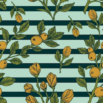 Motivo floreale foglie tropicali disegnare a mano design vintage