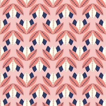 Motivo floreale folk geometrico semplice senza soluzione di continuità