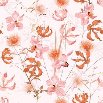 Motivo floreale in molti tipi di fiori. ripetizione di motivi botanici. trama senza soluzione di continuità. stampa con stile disegnato a mano