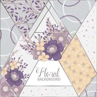 Motivo floreale patchwork con elementi geometrici