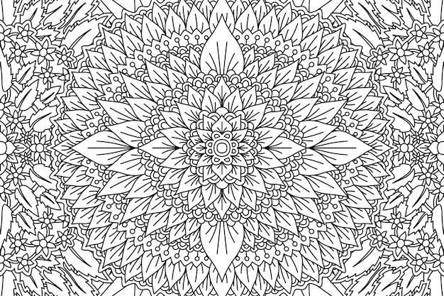 Motivo floreale per la pagina del libro da colorare con fogliame