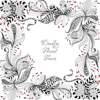 Motivo floreale rosso, bianco e nero
