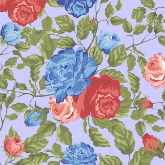 Motivo floreale rosso e blu rosa
