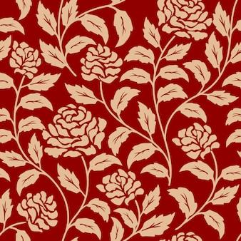 Motivo floreale rosso senza soluzione di continuità