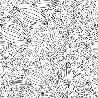 Motivo floreale senza saldatura. ornamento moderno in bianco e nero di doodle. design del tessuto o dell'imballaggio. pagina del libro di colorazione