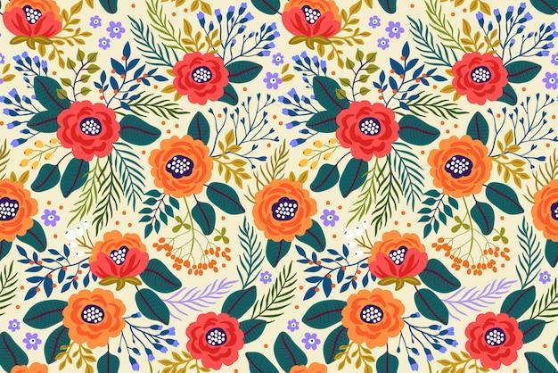 Motivo floreale senza soluzione di continuità alla moda con fiori luminosi e foglie su sfondo bianco. sfondo floreale moderno.