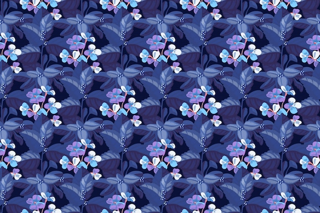 Motivo floreale senza soluzione di continuità. blue mattiola incana nel fogliame blu di un'ortensia. fiori da giardino, steli, foglie isolati su sfondo blu profondo.