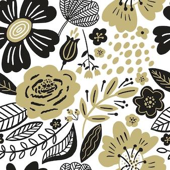 Motivo floreale senza soluzione di continuità colori oro e nero. fiori piatti, petali, foglie con e elementi doodle. sfondo botanico stile collage per tessuti e superficie. design in carta ritagliata.