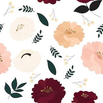 Motivo floreale senza soluzione di continuità con bellissimi fiori.