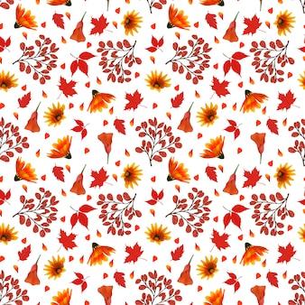 Motivo floreale senza soluzione di continuità con fiori autunnali