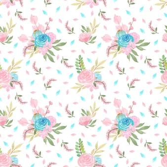 Motivo floreale senza soluzione di continuità con fiori blu e rosa