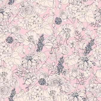 Motivo floreale senza soluzione di continuità con fiori, sfondo vintage.