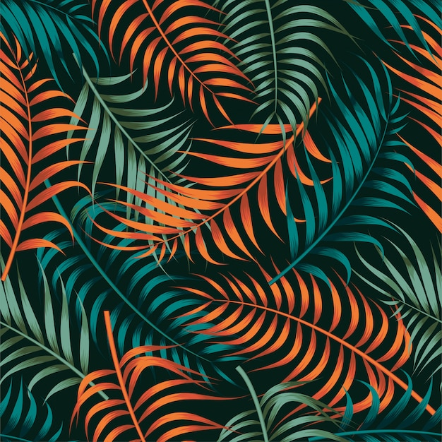 Motivo floreale senza soluzione di continuità con foglie. sfondo tropicale