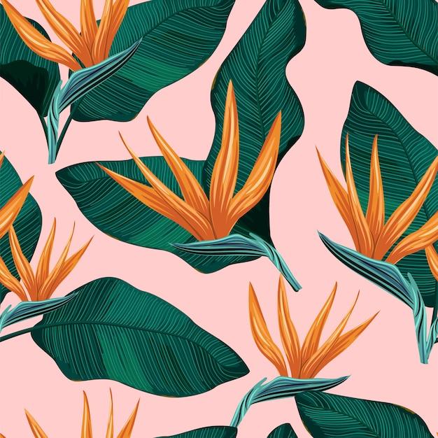 Motivo floreale senza soluzione di continuità con foglie tropicali
