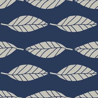 Motivo floreale senza soluzione di continuità con linee geometriche foglie. elementi botanici in colore grigio su sfondo blu navy.