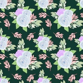 Motivo floreale senza soluzione di continuità con rose blu e succulente