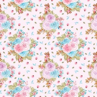 Motivo floreale senza soluzione di continuità con simpatici fiori viola e blu