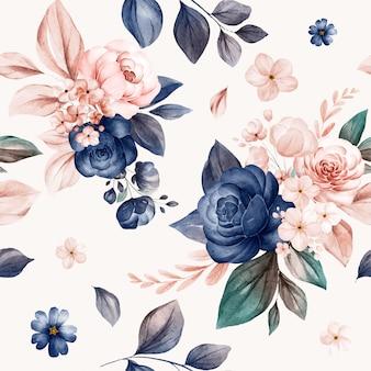 Motivo floreale senza soluzione di continuità di rose acquerellate blu scuro e pesca e composizioni di fiori selvatici