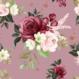 Motivo floreale senza soluzione di continuità di rose acquerelli marrone e bordeaux e composizioni di fiori selvatici