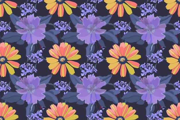Motivo floreale senza soluzione di continuità. fiori gialli, rosa, viola, foglie blu isolate