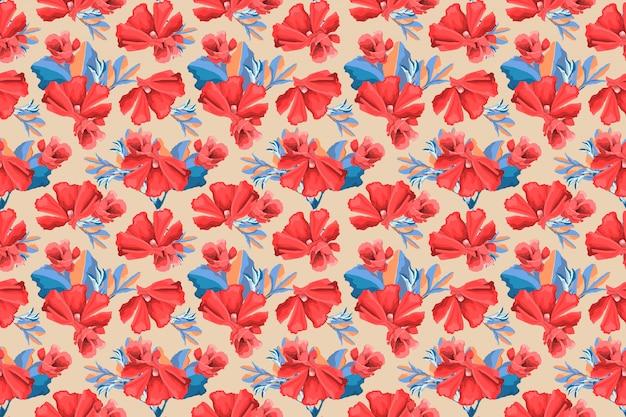 Motivo floreale senza soluzione di continuità. fiori rossi della malva, germogli, foglie blu isolate