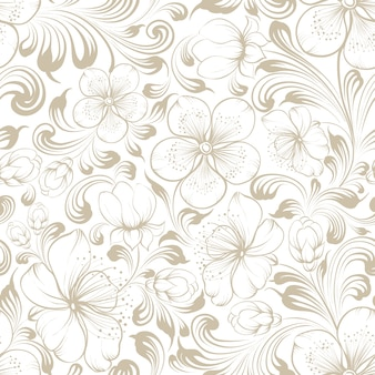 Motivo floreale senza soluzione di continuità sakura in fiore su sfondo bianco.