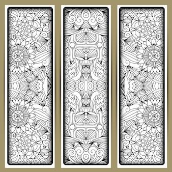 Motivo floreale verticale con fiori disegnati a mano