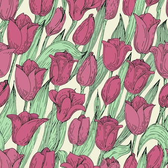 Motivo floreale vettoriale senza soluzione di continuità con i tulipani. illustrazione disegnata a mano retro.