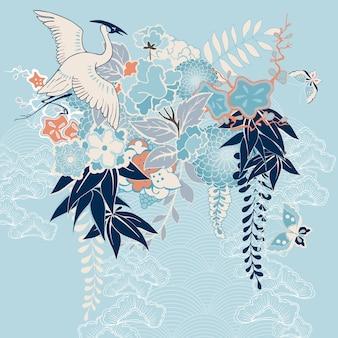 Motivo kimono giapponese con gru e fiori