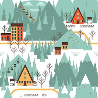 Motivo natalizio con case invernali, foresta, impianto di risalita nel paesaggio montano
