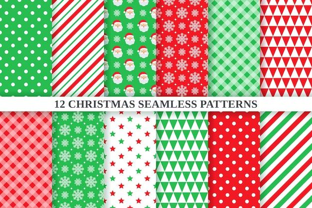 Motivo natalizio. set di texture geometriche