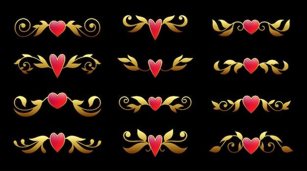 Motivo ornato d'oro con gemma rosa, elemento di design di lusso di carta di san valentino, testo devider, spilla, perno