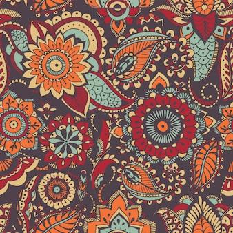 Motivo paisley orientale eterogeneo con motivo colorato ed elementi mehndi
