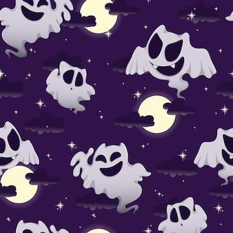 Motivo per halloween con fantasmi divertenti, luna, cielo e stelle.