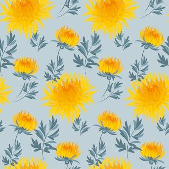 Motivo ripetibile del crisantemo giallo senza cuciture del fiore.