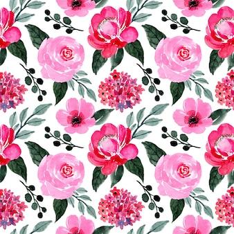Motivo rosa e verde con acquarello floreale