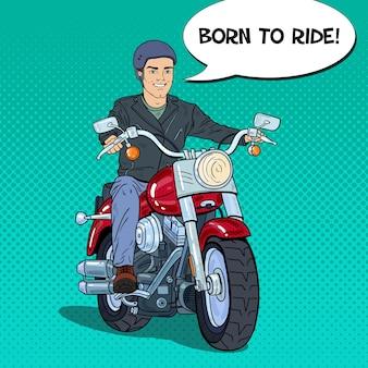 Motociclista dell'uomo di pop art che guida un elicottero