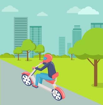 Motociclista in città, paesaggio urbano moderno della città