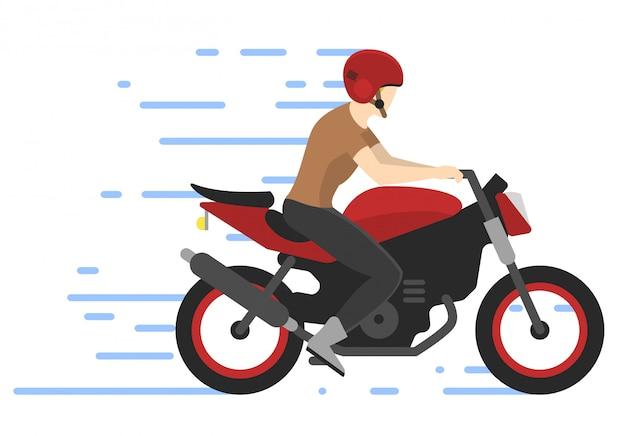 Motociclista in moto, illustrazione. motorbiker. gara di motocross.