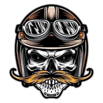 Motociclista teschio con il vettore di baffi