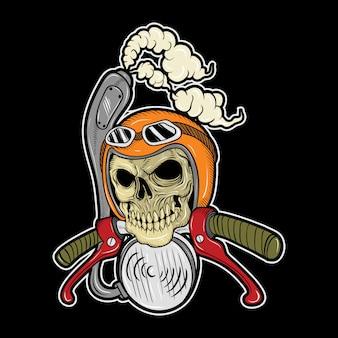 Motociclisti del cranio che indossano casco, disegno della mano, isolato