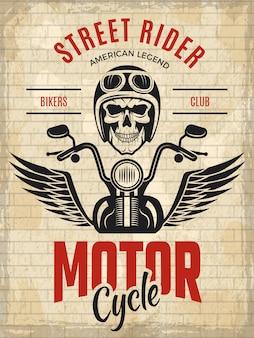 Motociclisti poster retrò. modello di vettore del cartello di concetto del cavaliere della banda del motociclo del cranio