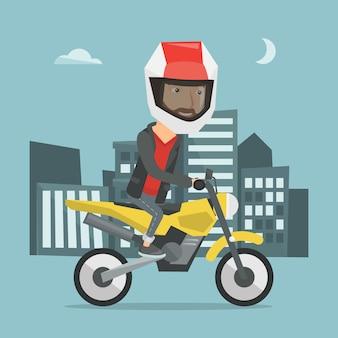 Motociclo di guida dell'uomo all'illustrazione di vettore di notte