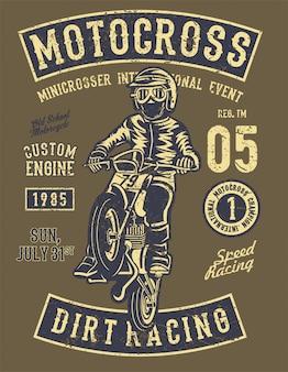 Motocross dirt racing. illustrazione d'epoca