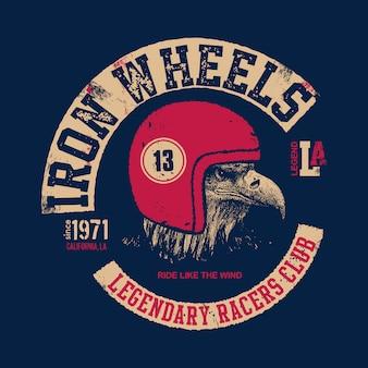 Motor eagle. motociclista dal design vintage.