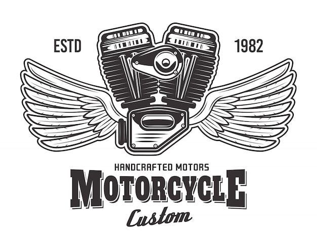 Motore del motociclo con le ali e l'illustrazione dettagliata monocromatica del testo del campione isolata su fondo bianco