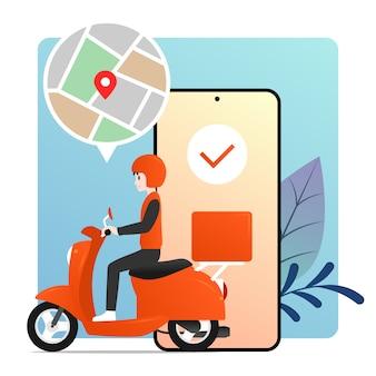Motorino di guida del fattorino con l'illustrazione dello smartphone della mappa di gps.